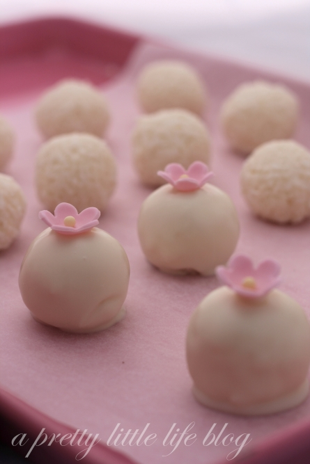 Easter coconut truffles, white chocolate dipped, icing flowers