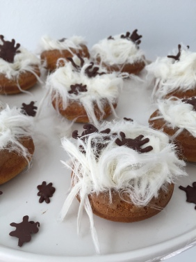 Halloween Spiced Pumpkin Donut Spiders Nests